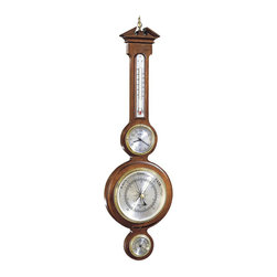 Howard Miller - Howard Miller Catalina Weather Reader - Howard Miller - Weather/Maritime Clocks - 612718 - This traditional barometer reflects classic design themes and also serves as a thermometer and hygrometer. The handsome hardwood frame features a fluted upper panel with dual-pediment crown and vertical thermometer gauge above two circular barometer and hygrometer gauges. Each dial is encircled by polished and brass bezels and convex acrylic crystals. A Windsor cherry finish completes the look of the Presque Isle Weather Reader.