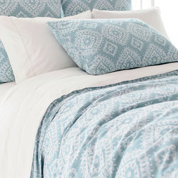 Ramala Sky Duvet Cover - Superb softness. A sky blue hue. A gently distressed, vintage look.  All lend the Ramala Sky Duvet Cover a cozy beauty that invites lounging and lingering. The gorgeously intricate pattern is Indian inspired, inviting dreams of exotic locales and faraway lands. As each cover is enzyme washed, variations in color are to be expected.