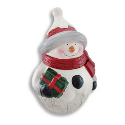 Zeckos - Festive Happy Snowman Ceramic Cookie Jar - Brrr It's cold outside Let this snowman warm up inside as the centerpiece of your Holiday table This cute ceramic cookie jar will warm your heart and features a jolly snowman with a big happy smile ready to deliver his Holiday package He wears a bright red scarf, a snow topped hat, and black mittens and easily blends in with any decor This jar will hold plenty of cookies at 12 1/2 inches high, 8 1/4 inches long and 8 inches deep. Made of ceramic, this jar has been hand-painted and boasts a nice glossy finish, and would make a wonderful Holiday gift for a co-worker, a friend or your favorite neighbor