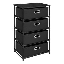 Altra - 4 Bin Storage End Table - Black - Stay organized with the Altra 4 Drawer Storage End Table in Black. You'll have this unit set up in minutes with its easy-to-assemble construction, with no tools. The collapsible, canvas bins with sturdy metal structure provide a storage solution for many areas of the house.