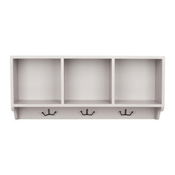 Safavieh - Safavieh Alice Wall Shelf X-C6656HMA - Reminiscent of schoolhouse cubbies, the Alice Wall Shelf is designed to minimize entry hall clutter, and keep kids organized. With its clean gray finish, this piece has three storage spaces for hats, gloves, or decorative accessories and hooks for coats and scarves.