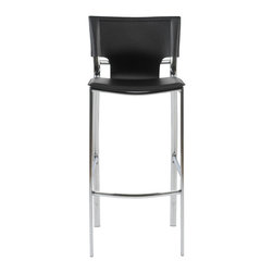 Eurostyle - Vinnie-B Bar Chair (Set Of 2)-Blk - Is time for your 5:00 o'clock cocktail? Sip and indulge in style while you relax in this elegant bar chair. Sophisticated design is paired with the practicality of bonded leather to create ideal seating for your bar or kitchen.