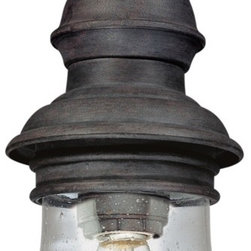 "Troy - Hyannis Port Collection 12 1/2"" High Outdoor Hanging Light - The Hyannis Port outdoor hanging light from Troy Lighting is inspired by the charm and history of Hyannis and beautiful Cape Cod. This lantern-style design is crafted from hand-forged iron which is presented in a special Hyannis Port bronze finish. A rounded body of clear seeded glass gives way to warm illumination. A classic design to light your outdoor spaces. Hand-forged iron construction. Hyannis Port bronze finish. Clear seeded glass. Takes one 60 watt bulb (not included). 12 1/2"" high. 5 1/4"" wide.  Hand-forged iron construction.   Hyannis Port bronze finish.   Clear seeded glass.   Takes one 60 watt bulb (not included).   12 1/2"" high.   5 1/4"" wide."