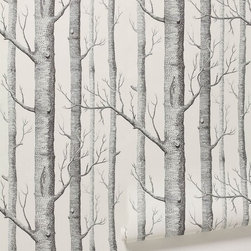 Woods Wallpaper - Wallpapering can be a very labor intensive project, but the impact always makes up for the effort. The birch pattern on this paper would be a nice neutral touch on an accent wall.