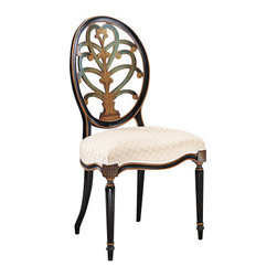 "Inviting Home - Hand-painted English Style Side Chair - Hand-painted English style beechwood side chair; seat is 20-1/2""W x 19""D x 20""H; back is 41""H; hand-crafted in Italy; Hand-painted English style chairs with carved oval back-splat antiqued black and green finish on the front and the back. Chairs have a gold leaf accents and ivory upholstery. These carved wood chairs are hand-crafted in Italy."