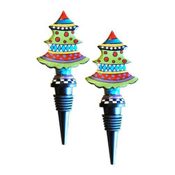 Golden Hill Studio - Metal Xmas Tree Stopper Set of 2 - You've decorated your entire house for the holidays, so don't forget the small touches that make a party even merrier. This Christmas tree bottle stopper is fun and preserves your leftover wine for the next day's festivities.