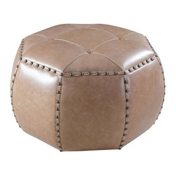 Hooker - Hooker Furniture La Pedrera Pasaje Small Octogonal Ottoman, 083 La Pedrera Sotto - Developed by one of America's premier manufacturers to offer quality furniture at affordable prices. Each piece is meticulously hand-crafted using the most exquisite leathers in the world. The La Pedrera Pasaje Small Octogonal Ottoman Crafted using La Pedrera Pasaje (Light Brown) leather.