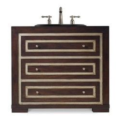 "Cole & Co. - Cole & Co. 36"" Designer Series Mahoney Sink Chest - Rich deep Walnut - Cole & Company combines great design with great flexibility, allowing you to mix and match size, finish, and style to create your own perfect bathroom vanity. The Mahoney Sink Chest is an impeccable statement piece with its inset faux lizard Robus leather in cr?�me with a silvery gold that accents the rich deep walnut woods. It features two functioning drawers and antique nickel hardware. Individually handmade of Asian hardwood solids with select walnut veneers and stamped Robus leather.Cole & Co. has offered its famous Designer Series since 1998 and is among the most popular and well-known is the US. Featured is almost every major design and interiors magazine, each handcrafted furniture piece in the Designer Series has the back cut out by hand for plumbing and sink installation and door or drawers configured to retain usefulness and storage capabilities. Designer Series vanities come with the wooden tops as shown to replicate a fine piece of furniture much the same way fine antiques have been converted as vanities in this way for years. Each piece is thoughtfully configured for ease in plumbing installation.When purchasing Cole & Co. vanities, you will have peace of mind that you're choosing furnishings of enduring quality. Caring craftsmen pay attention to every detail such as: All drawers include wood-on-wood glides for smooth, efficient operation, and all touching drawer guide parts are waxed for smooth and quiet operation; Strength and durability are supplied by mortise and case construction reinforced with glue and metal fasteners; Solid lumber and select wood veneers are carefully chosen to permit consistent finishing as use of veneers enables more decorative looks unattainable with solid wood. Veneers, which are used only on flat surface areas such as the case tops and sides, also add weight, strength and dimensional stability; and lastly, Up to 30 finishing steps, including 13 steps of hand-sanding and accenting are used with physical distressing done by hand to insure an authentic, antique look. In addition, all items receive two to three full coats of catalyzed lacquer for extra depth and durability and a final top coat of nitrocellulose to help protect it from wear, water and light.Your Cole & Co. quality vanity is a significant investment expected to last for generations. To maintain its beauty and help it last, please refer to the Designer Series product information sheet and the Care & Cleaning FAQ. Each piece is handmade and finished and actual color may vary. Features: Completely hand madeAntique Nickel HardwareFeatures two functioning drawers and antique nickel hardware36""W x 18-3/4""D x 32""HFaucet(s) not includedSink(s) not included Ships with wooden topPlease confirm sink measurements will work prior to ordering. Cole & Co. can custom cut your vanity for countertops and faucets. Please contact us for details.No assembly required How to handle your counter"