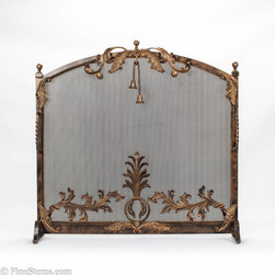 Dark bronze and gold iron fireplace screen - Add a unique look to your fireplace with this handcrafted, solid dark bronze and gold iron fireplace screen. It contains an iron mesh and is adorned with decorative gold tassels