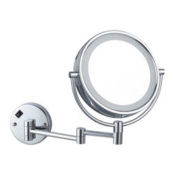 Nameek's - Double Face LED Lighted 3x Mirror - This makeup mirror mounts to your bathroom wall. It is an 8 inch, double face magnifying mirror with 3x magnification. This lighted mirror has an LED light with an on/off switch located on the base. It is a contemporary/Italian style mirror made from high quality brass.