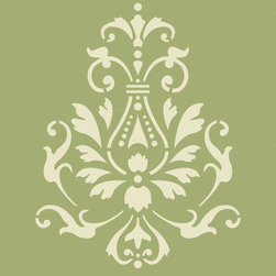 Stencil Ease - Georginian Accent Stencil - Georginian Accent Home Decor Stencil Contains: 1 - 8 x 10 Stencil Sheet Actual Size: 7.25 wide x 9.4 high These detailed laser-cut Accent Stencils can be used to embellish walls in bathrooms hallways bedrooms living rooms and more. They can also be used on tiles furniture lampshades and scrapbooking projectsAny paint can be used with these mylar stencils. This design was painted using the following Americana Acrylic Paint Color: 1 2oz MDA02002 White WashComplete kit comes with stencil paints and 1 THW0006 3/8 inch Stencil Brush