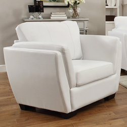 Coaster - Lois Chair, White - Perfect for small spaces and contemporary homes, our Lois collection offers a slanted double arm sofa that's not only stylish, but provides great lumbar support with its slanted back. With a comfortable higher arm rest, fiber filled back cushions and a wood frame, this collection is sure to bring comfort and style to your living room. Pair this contemporary sofa collection with a round glass top occasional set (#702335).