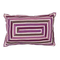 Jaipur - Luli Sanchezs Purple 16 x 24-Inch Decorative Pillow - - En Casa is the design collection of Cuban born Queens NY raised painter and surface designer Luli Sanchez. This collection is based off of her painterly works of art that capture an organic and moody yet optimistic spirit. Her geometric paintings were truly inspiring for this pillow collection      - Care Instructions: Remove the throw pillow's cover if it is removable. Wash the cover separately from the pillow. Pre-treat badly soiled or stained areas on the pillow cover with a color-safe prewash spray. Rub the spray into the stain with a damp sponge. Wash the pillow cover or the whole pillow on a gentle-wash cycle in warm water with a very mild detergent. Detergent for delicate fabrics or baby clothes is usually suitable. Remove the pillow or pillow cover as soon as the washing machine has ended the cycle and has shut off. Hang the pillow or cover up to dry in a well-ventilated area. If the care label specifies that the item is dryer-safe place the pillow or pillow cover in the dryer and tumble dry on low heat. Fluff the pillow once it is dry in order to maintain its form. Don't use the pillow until it is completely dry. Damp pillows will attract dirt more easily. Jaipur - PLC101024