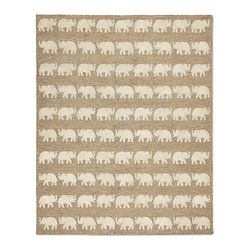 "Frontgate - Parade Outdoor Area Rug - Frontgate exclusive. Adds warmth underfoot in cooler temperatures and relief from hot surfaces in summer. Hand-tufted using 70% polypropylene and 30% acrylic. Suitable for outdoor and indoor use. .38"" thick. Elevated tufting depicts elephants in our Parade Outdoor Rug, adding dimension to regal creatures that act as a symbol of kindness and majesty. The weather-resistant polypropylene and acrylic blend provides lasting color and durable construction.. . . . . Rug pad (sold separately) can provide additional cushioning and increased water drainage . Hose clean and allow to dry in the sun; use mild soap for hard-to-remove stains. Available in five colors: Turquoise, Orange, Yellow, Blue and Natural. Imported."