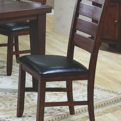 Monarch Specialties - Monarch Specialties Side Chair in Dark Oak (Set of 2) - These dark oak side chairs flatter the design of the dining table with their simple, clean lines and matching shaker styled legs. With their black bonded leather cushion seats, these chairs undeniably add to the appeal and character of the dining set.