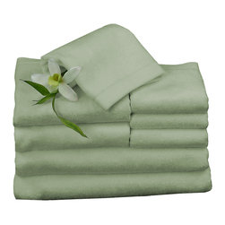 BedVoyage - Towel Bundle, Sage - BedVoyage Bamboo Towels are the utmost in velvety softness! With a blend of 70% bamboo viscose and 30% cotton, the towels are incredibly durable, absorbent and amazingly soft to the touch. You will feel so pampered when you wrap this wonderful towel around your body. Towel Bundle includes 2 Bath, 2 Hand and 4 Wash.