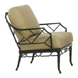 Lounge Chair - Calcutta II is a re-introduction on a grander scale of Calcutta, originally designed in 1967 by Hall Bradley. Inspired by the design themes of Chippendale furniture, Calcutta II features cast bamboo patterns on the seat and back, while tapered legs and a lower x-stretcher continue the exotic bamboo pattern. Appropriate for indoor formal dining as well as outdoor use, the Calcutta II collection includes dining pieces, as well as cast and glass top tables in various sizes.