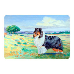 Caroline's Treasures - Collie Kitchen Or Bath Mat 24X36 - Kitchen or Bath COMFORT FLOOR MAT This mat is 24 inch by 36 inch.  Comfort Mat / Carpet / Rug that is Made and Printed in the USA. A foam cushion is attached to the bottom of the mat for comfort when standing. The mat has been permenantly dyed for moderate traffic. Durable and fade resistant. The back of the mat is rubber backed to keep the mat from slipping on a smooth floor. Use pressure and water from garden hose or power washer to clean the mat.  Vacuuming only with the hard wood floor setting, as to not pull up the knap of the felt.   Avoid soap or cleaner that produces suds when cleaning.  It will be difficult to get the suds out of the mat.