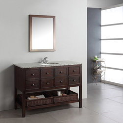 Simpli Home - Simpli Home Burnaby 48-in. Single Bathroom Vanity Multicolor - HHV022D - Shop for Bathroom from Hayneedle.com! The spacious understated Simpli Home Burnaby 48-in. Single Bathroom Vanity is a refined vanity perfect for your home. Contemporary style and function match effortlessly in this vanity. Four drawers and two wicker baskets offer plenty of storage for bathroom necessities so there's the function. Style-wise this vanity features a beautiful dark brown finish and a unique design which pairs magnificiently with a flecked granite top and undermounted white sink. Durable hardwood construction ensures lasting longevity. Features three pre-drilled holes for a standard 4-inch faucet. An optional Burnaby mirror is available pairing wonderfully with this vanity.About Simpli HomeSimpli Home is a quickly growing manufacturer of finely constructed modern furniture designed to transition perfectly into their customers homes. They produce a wide variety of furnishings from coffee tables to bathroom vanities. Only the strongest most durable materials are used to construct the companys contemporary stylish and functional products.