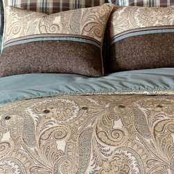 Powell Duvet Cover - Let Powell bring a touch of its soft tradition to your décor. Both light and masculine, its paisleys and houndstooth are interwoven with mocha and spa blue tones; decorative pillows and accessories are embellished with subtle trim and button detailing.