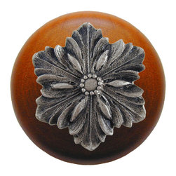 """Inviting Home - Opulent Flower Cherry Wood Knob (satin nickel) - Opulent Flower Cherry Wood Knob with hand-cast satin nickel insert; 1-1/2"""" diameter Product Specification: Made in the USA. Fine-art foundry hand-pours and hand finished hardware knobs and pulls using Old World methods. Lifetime guaranteed against flaws in craftsmanship. Exceptional clarity of details and depth of relief. All knobs and pulls are hand cast from solid fine pewter or solid bronze. The term antique refers to special methods of treating metal so there is contrast between relief and recessed areas. Knobs and Pulls are lacquered to protect the finish. Alternate finishes are available. Detailed Description: The Opulent Scroll pulls add an amazing focus to any drawers or cabinets - it will make them look regal and majestic. The absolute perfect place for these pulls to be used is in the dining room on your china closet. They are great pulls to use if you are trying to punch up an antique piece of furniture or cabinet. You should consider using the Opulent Scroll pulls in combination with the Opulent Flower knobs or wood knobs with flower."""