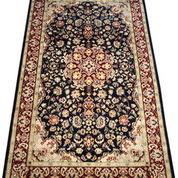 "ALRUG - Handmade Black Persian Kashan Rug 3' x 5' 3"" (ft) - This Pakistani Kashan design rug is hand-knotted with Wool on Cotton."
