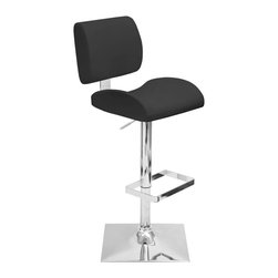 """Lumisource - Locust Barstool Black - The Locust Barstool is made for comfort! The soft, yet sturdy leatherette cushions, made with molded foam for extra padded support, will entice you and your guests every time! With a smooth hydraulic system that adjusts from counter to bar height, swivel seating, and a trendy, square chrome footrest and base, you're sure to impress time and time again. Seat height adjusts hydraulically from 24"""" to 32"""". Recommended for residential use."""