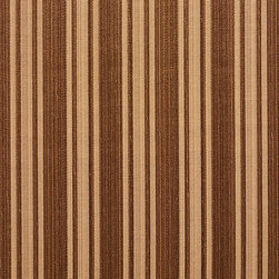 Brown Two Toned Stripe Metallic Sheen Upholstery Fabric By The Yard - This multipurpose fabric is great for residential upholstery, bedding and drapery. This material is woven for enhanced elegance. The sheen of this material varies depending on the light for a unique appearance.