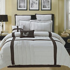 Bed In A Bag - 8pc Luxury Comforter Set- Broadway- Beige/ Chocolate - This classic hotel-look bedding set is designed to be both stylish and comfortable. Give your bedroom a luxurious makeover with this comforter set. This geometric comforter set would beautifully complement a traditional interior decor. 100% Polyester, Machine Washable