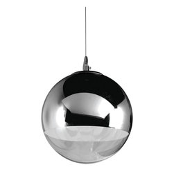 "Nuevo Living - Diego Jr. Chrome Pendant Light by Nuevo - HGML197 - The Diego Jr pendant light is as modern as it can get.  The Diego features a half chromed glass shade and a chromed bulb.  The Esprit includes and adjustable cable suspension system and 4"" canopy.  The Esprit is perfect for kitchen or office use.  The Esprit contemporary pendant light takes 1 E26 60 watt bulb which are easy to find at all US hardware stores."
