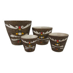 Zeckos - Set of 4 Friki Tiki Painted Nesting Planters Makaha Style - This set of planters is a great way to dress up your tropical plants, indoors and out The largest pot is 8 inches in diameter, 7 3/4 inches tall, 1/2 inch thick, the 6 inch pot is 5 3/4 inches tall, 1/4 inch thick, the 4 inch pot is 4 1/4 inches tall, 1/8 inch thick, and the smallest pot is 3 1/2 inches in diameter, 3 3/4 inches tall, and 1/8 of an inch thick. Each one is made of cold cast resin, and textured to look as though they are carved from wood. They feature Makaha style tiki faces with hand painted accents in white, red, yellow, and green. They are a cool accent to porches and patios, and are a must-have for tiki bars