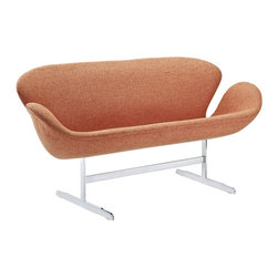 Modway - Wing Loveseat in Orange - Perhaps no chair is more synonymous with organic design than the Wing chair. First intended as an outstretched reception chair, the piece is expansive like the wings of its namesake. While organic living promotes the harmonious balance between human habitation and the natural world, achieving proper balance is a challenge.