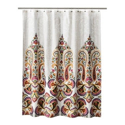 Mudhut Samovar Shower Curtain, Cream - The Eastern feel of this gorgeous shower curtain from Target tells me that global design has trickled down and made its home in mainstream design. It's back in action and around for the long haul.