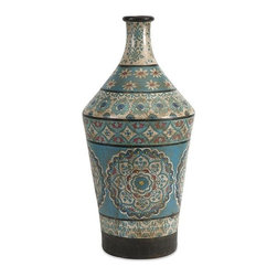 iMax - Kabir Large Hand Painted Vase - Globally inspired, this large hand painted vessel from India spices up any room with rich indigo contrasts and red accents.