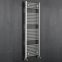 Hudson Reed - Premium Chrome Curved Heated Bathroom Towel Radiator Rail 59 x 19.75 - This tall, curved Ladder Style Heated Towel Rail, with a high quality chrome finish, produces a heat output of 457 Watts (1,559 BTUs), enough to keep your towels warm and heat a small bathroom or cloakroom.Supplied complete with a fixing pack for wall mounting, this minimalist towel rail has 28 curved horizontal rungs and provides a functional and stylish centrepiece to any contemporary setting. This product is from the Kudox Premium range and has 0.86 (22mm) bars which give both a higher output and improved aesthetics. Manufactured by an ISO 9001 registered company..Suitable for closed loop heating systems, the 59 x 19.75 Kudox Heated Bathroom Towel Rail connects to your heating system via the radiator valves included (please choose angled or straight) Kudox Chrome Curved Heated Bathroom Towel Radiator Rail 59 x 19.75 Details    Dimensions: (H x W x D) 59 (1500mm) x 19.75 (500mm) x 3 (75mm) Output: 457 Watts (1,559 BTUs) Number of cross-bars: 28, with a thickness of 0.86 (22mm), divided into 4 sections of 4, 8, 8, 8 Pipe Centres: 18.1 (460mm) Fixing Pack Included Suitable for bathroom, cloakroom, kitchen etc. Expertly plated with high quality 62.5 micron chrome on copper plated mild steel, with swagged oven brazed joints. Tested to BS EN442 - 140 psi maximum working pressure 5 Year Guarantee (12 months for surface finish) Please note: Radiator valves are included, please choose either straight or angled radiator valves.  Buy now, to transform your bathroom, at an affordable price. Please Note: Our radiators are designed for forced circulation closed loop systems only. They are not compatible with open loop, gravity hot water or steam systems.