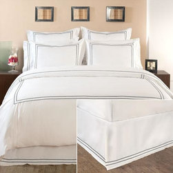 Embroidered Box-Pleat Bed Skirt - For the look of hotel bedding, you can't go wrong with a beautiful pleated white skirt with an embroidered trim. It will go with any kind of bedding, but looks especially sharp with the matching pieces.
