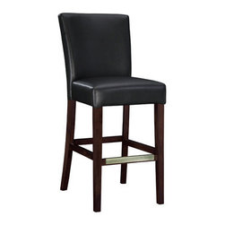 "PWL273-847 - Set Of 2 Black Bonded Leather Bar Stool, 30-1/4"" Seat Height - Set of 2 black Bonded leather Bar stool, 30-1/4"" Seat Height.  The black leather Bar stool is the perfect piece that is sure to complement any decor. The sleek ""Light Merlot"" finished legs and the ""Antique Brass"" foot rest add a touch of interest to this somewhat simple piece. The stool is covered in rich black bonded leather. The seat height measures 30-1/4"".  Chair measures:  19 x 24 x 44-1/2"" tall, Seat Height: 30-1/4"".  Some assembly required.  Material Content: solid wood frame, rubberwood legs, bonded leather, polyurethane foam pad"