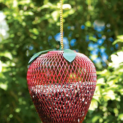 "Achla - Apple Shaped Bird-feeder - An innovative and ornate way to feed your feathered friends, this apple features an iron mesh with a red powder coat finish which allows birds to access seeds through its minute openings.  Quaint green leaves complete the theme. * Iron mesh with an apple red powdercoat and green leaves6""dia. x 18""H"