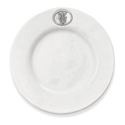 Arte Italica - Regale Salad/Dessert Plate - Enjoy your greens like a true blue blood. These handmade salad plates (perfect for dessert or other small bites, too) feature pewter emblems of Italian nobility, yet their classic design makes them ideal for your everyday meals.