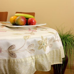 """Unique & DecorativeTablecloths - """"Beige"""" 53"""" Round Tablecloth. Dupion Silk fabric. Beautifully painted by hand in India. Great complement for the holidays."""