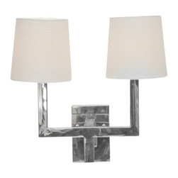 Worlds Away Kennedy Nickel Plated 2 arm sconce - Worlds Away Kennedy Nickel Plated 2 arm sconce