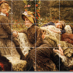 Picture-Tiles, LLC - The Garden Bench Tile Mural By James Tissot - * MURAL SIZE: 24x32 inch tile mural using (12) 8x8 ceramic tiles-satin finish.