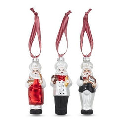 Santa Chef Ornaments, Set of 3 - This trio of chefs hail from the North Pole and will bring holiday cheer to a cook's tree.