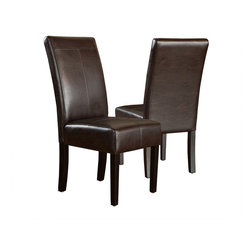 Great Deal Furniture - Stella Leather Dining Chair, Set of 2, Marbled Brown - Open invitation. Everyone wants to come to your house for dinner. Why? While you know it's your cooking that draws them, you have a nagging feeling it may also be the super luxurious and comfy leather dining chairs around your table. They come often. They stay late. Cooking … or chairs? Better not to ask.