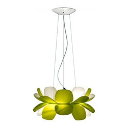 """Estiluz - Estiluz T-5805 Infiore Pendant Light - Product Details: This beautiful and unique pendant lamp by Estiluz has been designed by Lagranja. The shape of this pendant appears to look like flower petals that diffuse and bounce the light in unique and interesting ways. The petals are made of bi-injected polycarbonate material and the diffuser is made of satin glass. Available in Green, White or Grey shade. ETL LISTED Details:                                     Manufacturer:                                      Estiluz                                                     Designer:                                     Lagranja                                                     Made in:                                     Spain                                                     Dimensions:                                      Height: 10.25"""" (26cm) X Diameter: 21.6"""" (55cm)                                                      Light bulb:                                      1 X 250W T3 78mm R7s base halogen(included) or 2 X 26W 120V G24q3 base Quad fluorescent (not included)                                                     Material:                                      Polycarbonate, Glass"""