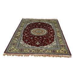4' X 6' Kashan Oriental Rug, Silken 250 Kpsi Hand Knotted Red & Green Rug SH8783 - Hand Knotted Silk Rugs are second to none when it comes to quality.  Silk fibers are much thinner allowing our weavers to maximum the knots per square inch in a rug.  This will escalate the labor as well as material in the rug.  These traits along with the cost of silk make hand knotted silk rugs some of the most expensive rugs in the world.