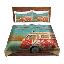 DiaNoche Designs - Duvet Cover Microfiber by Danny Phillips - Santa Cruise - DiaNoche Designs works with artists from around the world to bring unique, artistic products to decorate all aspects of your home.  Super lightweight and extremely soft Premium Microfiber Duvet Cover (only) in sizes Twin, Queen, King.  Shams NOT included.  This duvet is designed to wash upon arrival for maximum softness.   Each duvet starts by looming the fabric and cutting to the size ordered.  The Image is printed and your Duvet Cover is meticulously sewn together with ties in each corner and a hidden zip closure.  All in the USA!!  Poly microfiber top and underside.  Dye Sublimation printing permanently adheres the ink to the material for long life and durability.  Machine Washable cold with light detergent and dry on low.  Product may vary slightly from image.  Shams not included.