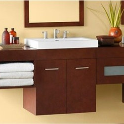"Ronbow - RONBOW Bella 23"" Vanity Integrated - Dark Cherry - Ronbow wall mounted vanities have sophisticated design, modern sensibility, and expert craftsmanship. Flexibility is built in so you can customize it to your needs with drawer bridges, shelf bridges, cabinets, and wall fillers. The Bella is available in multiple sizes and finishes to meet your needs. Features Includes one 23"" vanity and optional 24"" integrated sink and counter Included with the 23"" vanity are 2 doors, 1 hidden drawer, and 1 shelf Solid wood construction Soft Close Wood doors Soft Close full extension drawers with dovetail construction Matching finish throughout the interior Matching drawer bridge, mirror, and wall cabinet available Mirrors hang horizontal or vertical Faucet NOT included in price Pre-drilled for a either single hole faucets or 8"" widespread faucets. Includes mounting hardware for easy installation Wall-Mounting allows variable installation height Ground to top of counter - variable: 31-33"" suggested Wall fillers are available to fill space between units and the wall How to handle your counter Spec Sheet for Vanity Spec Sheet for 24"" Evin Integrated Sink and Counter Spec Sheet for 24"" Larisa Integrated Sink and Counter Spec Sheet for 24"" Glass Tempered Integrated Sink and Counter Spec Sheet for 12"" and 15"" Drawer Bridge Spec Sheet for 18"" Drawer Bridge Spec Sheet for 24"" Mirror Spec Sheet for 24"" Medicine Cabinet Spec Sheet for 32"" Cabinet Spec Sheet for 55"" Cabinet"