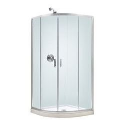 """BathAuthority LLC dba Dreamline - Prime Frameless Sliding Shower Enclosure, 31 3/8"""" D x 31 3/8"""" W x 72"""" H, Clear - The Prime shower enclosure is the perfect combination of sophisticated style and brilliant practicality. The corner installation saves space while creating a stunning focal point. Sliding doors create a comfortably wide walk through without claiming the space necessary for a swing door. The Prime offers a unique shape with a Neo-round design, achieved with beautifully curved tempered glass."""