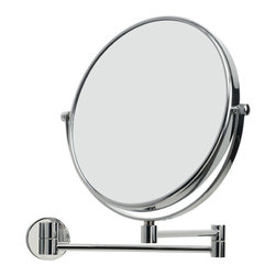WS Bath Collections - Mevedo 55852 Magnifying Mirror 3X - Mirror Pure by WS Bath Collections Mevedo Makeup/ Magnifying Mirror 9.0 Ø Wall- mount Revolving Double Face and Extendable in Polished Chrome . 3X